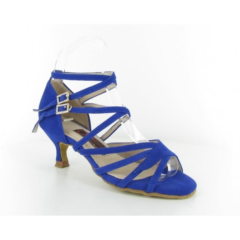 Chaussure de danse personnalisable en cuir bleu Suède