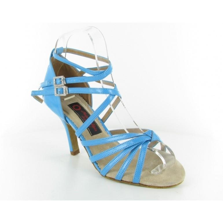 Chaussure de danse personnalisable en cuir bleu