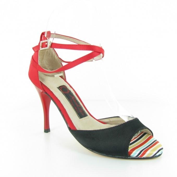 Chaussure de danse personnalisable rouge et noire