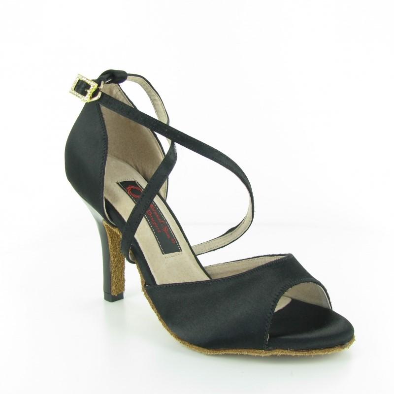 Chaussure de danse personnalisable en satin noires